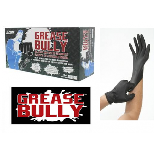 100 LARGE Grease Bully Black Nitrile Gloves BULK DISCOUNTS AVAILABLE - Free Delivery