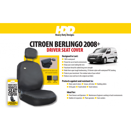 HDD Citroen Berlingo Front Drivers Seat Cover 2008 On BLACK 981 Heavy Duty Designs - Free Delivery !