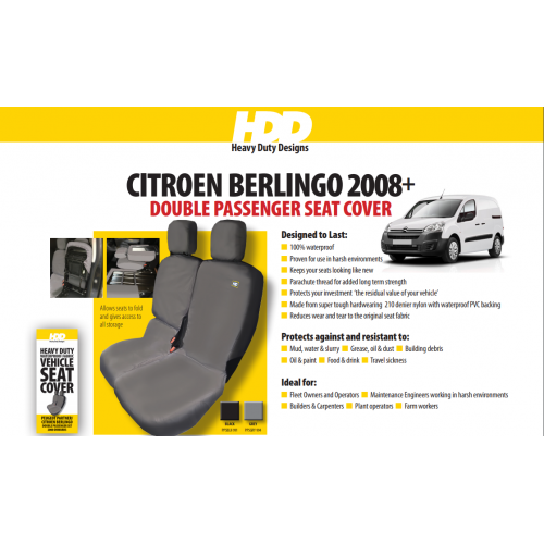 HDD Citroen Berlingo Front Double Passenger Seat Cover 2008 On GREY 994 Heavy Duty Designs - Free Delivery !