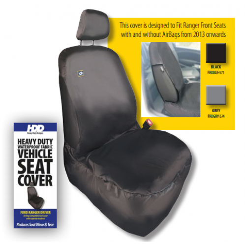 HDD Ford Ranger Front Driver Seat Cover 2016 On BLACK 571 Heavy Duty Designs - Free Delivery !