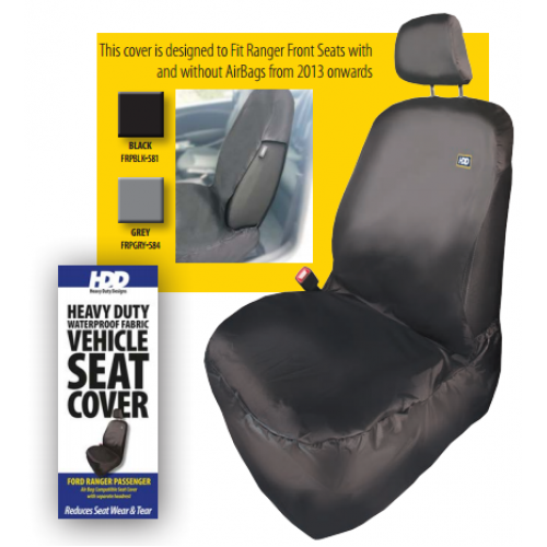 HDD Ford Ranger Front Passenger Seat Cover 2016 On BLACK 581 Heavy Duty Designs - Free Delivery !