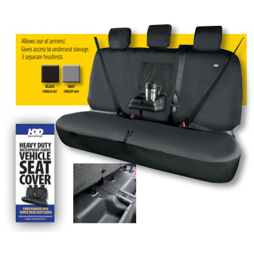 HDD Ford Ranger Rear Seat Cover With 3 Fixed Headrests BLACK 601 Heavy Duty Designs - Free Delivery !