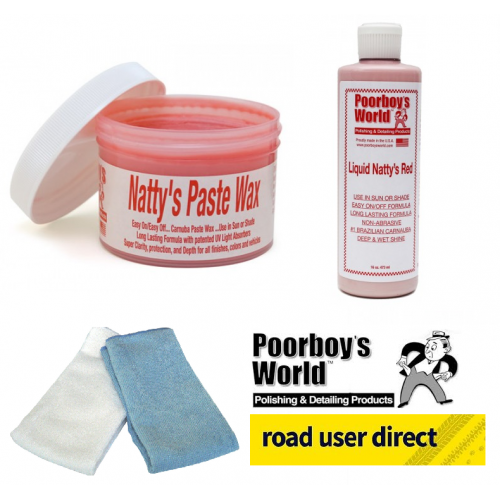Poorboys Nattys Red Wax Paste - Red Liquid Polish And 2 Pack Of Micro Fibre Clothes