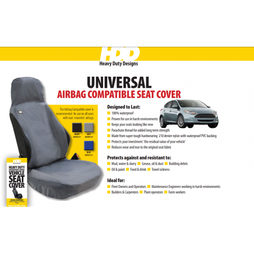 HDD Air Bag Compatible Universal Fit Front Seat Cover BLACK 211 Heavy Duty Designs - Free Delivery !