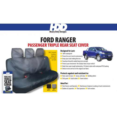 HDD Ford Ranger Rear Seat Cover With 3 Fixed Headrests BLACK 611 Heavy Duty Designs - Free Delivery !