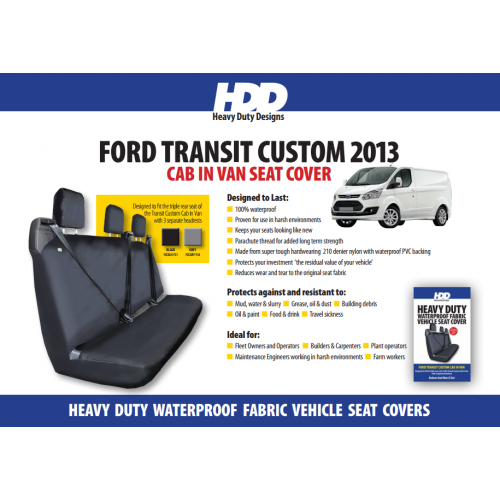 HDD Ford Transit 2013 Custom Cab Rear Seat Cover (3 Separate Headrests) BLACK 731 Heavy Duty Designs - Free Delivery !*