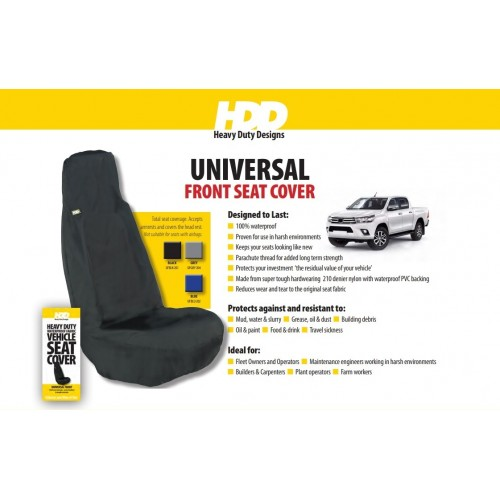 HDD Universal Fit Front Seat Cover BLACK 201 Heavy Duty Designs